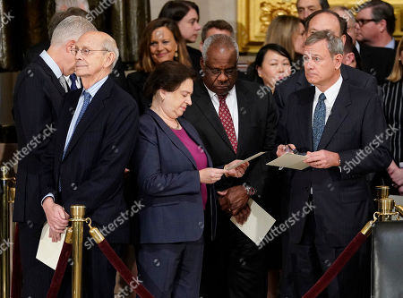 Elena Kagan, Clarence Thomas, John Roberts, Neil Gorsuch, Stephen Breyer, Clarence Thomas. From l-r., Associate Justices, Neil Gorsuch, Stephen Breyer, Elena Kagan, Clarence Thomas, and Supreme court Chief Justice John Roberts, after arriving for services for former President George H.W. Bush at the U.S. Capitol in Washington