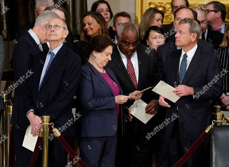 Elena Kagan, Clarence Thomas, John Roberts, Neil Gorsuch, Stephen Breyer, Clarence Thomas. Supreme court Chief Justice John Roberts, far right, with from l-r., Associate Justices Neil Gorsuch, Stephen Breyer, Elena Kagan, Clarence Thomas, and Samuel Alito, after arriving for services for former President George H.W. Bush at the U.S. Capitol in Washington