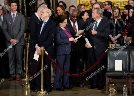 Brett Kavanaugh, Elena Kagan, Clarence Thomas, John Roberts, Neil Gorsuch, Stephen Breyer, Clarence Thomas. From l-r., Associate Justices Neil Gorsuch, Stephen Breyer, Elena Kagan, Clarence Thomas, Samuel Alito, and Supreme court Chief Justice John Roberts, after arriving for services for former President George H.W. Bush at the U.S. Capitol in Washington