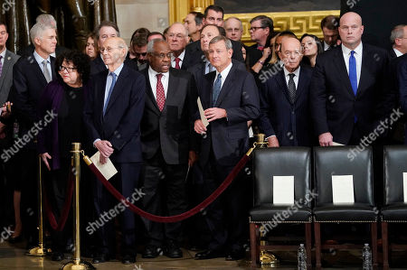 Brett Kavanaugh, Elena Kagan, Clarence Thomas, John Roberts, Neil Gorsuch, Stephen Breyer, Clarence Thomas, Matthew Whitaker. From l-r., Associate Justices, Neil Gorsuch, Sonia Sotomayor, Brett Kavanaugh, Stephen Breyer, Clarence Thomas, Anthony Kennedy (retired), Samuel Alito, Chief Justice John Roberts, Commerce Secretary Wilbur Ross and Acting Attorney General Matthew Whitaker, after arriving for services for former President George H.W. Bush at the U.S. Capitol in Washington