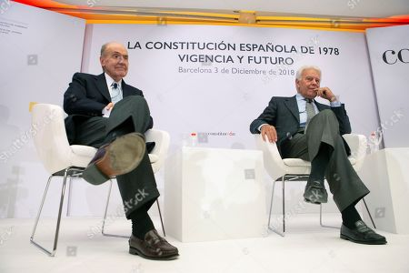 Spanish former Prime Minister Felipe Gonzalez (R) and Miquel Roca, one of the 'fathers' of the Constitution (L), attend the event 'La Constitucion Espanola de 1978: vigencia y futuro' (lit. The Spanish Constitution of 1978: validity and future) in Barcelona, Catalonia, Spain, 03 December 2018, on occasion of the commemoration of the 40th anniversary of Spanish Constitution.