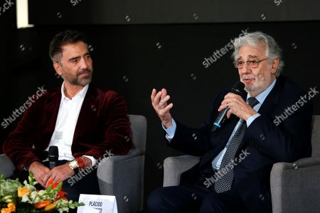 Spanish tenor Placido Domingo (R) and Mexican singer Alejandro Fernandez (L), participate in a press conference in Guadalajara, Jalisco state, Mexico, 03 December 2018. Domingo announced that he will offer a benefit concert in Mexico with the purpose of raising funds for the educational projects that the Real Madrid Foundation carries out in marginalized areas of Latin American countries.