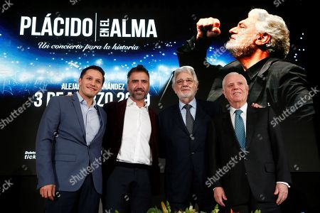 Director of the University of Guadalajara Foundation (UDG), Omar Aviles; Mexican singer Alejandro Fernandez, Spanish tenor, Placido Domingo and Vice president of the Real Madrid Foundation, Enrique Sanchez, participate in a press conference in Guadalajara, Jalisco state, Mexico, 03 December 2018. Domingo announced that he will offer a benefit concert in Mexico with the purpose of raising funds for the educational projects that the Real Madrid Foundation carries out in marginalized areas of Latin American countries.