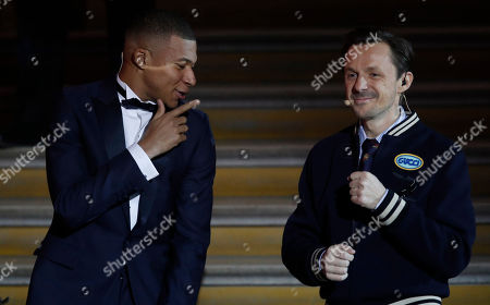 Paris St Germain's Kylian Mbappe (L) dances with French DJ Martin Solveig (R) during the 'Ballon d'Or' (Golden ball) award ceremony for the best European footballers of the year, in Paris, France, 03 December 2018.