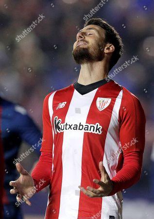 Athletic Bilbao's Aritz Aduriz reacts during a Spanish La Liga soccer match between Levante UD and Athletic Bilbao at the Ciutat de Valencia stadium in Valencia, eastern Spain, 03 December 2018.