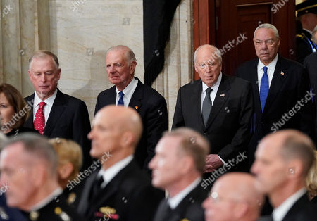 (L-R), former Vice Presidents Dan Quayle, former Secretary of State James Baker, former Vice President Dick Cheney, and former Secretary of State Colin Powell, arrive at the Capitol in Washington to attend services of former US President George H.W. Bush in Washington, DC, USA, 03 December 2018. Bush will lie in state in the Capitol Rotunda before his state funeral at the Washington National Cathedral 05 December. George H.W. Bush, the 41st President of the United States (1989-1993), died at the age of 94 on 30 November 2018 at his home in Texas.