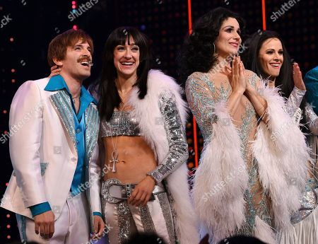 """Jarrod Spector, Micaela Diamond, Stephanie J. Block, Teal Wicks. Actors Jarrod Spector, left, Micaela Diamond, Stephanie J. Block and Teal Wicks on stage during the curtain for """"The Cher Show"""" Broadway musical opening night at the Neil Simon Theatre, in New York"""