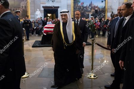 Former Kuwaiti Prime Minister Nasser al-Mohammed al-Ahmed al-Sabah (Front) and Ambassador of Kuwait to the US Salem Abdullah Al-Jaber Al-Sabah (Back) leave after paying their respects at the casket bearing the body of former US President George H.W. Bush in the Rotunda of the US Capitol in Washington, DC, USA, 04 December 2018. Bush, the 41st President of the United States (1989-1993), died in his Houston, Texas, USA, home surrounded by family and friends on 30 November 2018.