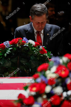 Republican Senator from Montana Steve Daines pays his respects to former US President George H.W. Bush at the Rotunda of the US Capitol in Washington, DC, USA, 04 December 2018.  George H.W. Bush, the 41st President of the United States (1989-1993), died at the age of 94 on 30 November 2018 at his home in Texas.