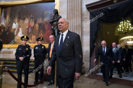 Former US Secretary of State Colin Powell (C) arrives with US military Operation Desert Storm Commanders to pay their respects for former US President George H.W. Bush in the Rotunda of the US Capitol in Washington, DC, USA, 04 December 2018. Bush, the 41st President of the United States (1989-1993), died in his Houston, Texas, USA, home surrounded by family and friends on 30 November 2018.