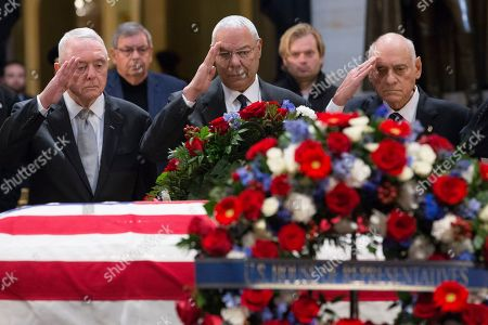 Former US Secretary of State Colin Powell (C) and US military Operation Desert Storm Commanders salute in front of the casket bearing the body of former US President George H.W. Bush in the Rotunda of the US Capitol in Washington, DC, USA, 04 December 2018. Bush, the 41st President of the United States (1989-1993), died in his Houston, Texas, USA, home surrounded by family and friends on 30 November 2018.