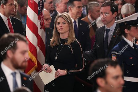 Stock Picture of Jenna Bush and her husband, Henry Chase Hager, attend an arrival service for former U.S. President George H.W. Bush, Jenna's grandfather, in the U.S. Capitol Rotunda