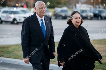 Former Secretary of State Colin Powell arrives at the US Capitol prior to the service for former President George H. W. Bush.