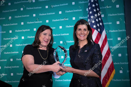 The Hudson Institute's Chairman of the Board of Trustees Sarah May Stern awards U.S. Ambassador Nikki Haley the Global Leadership Award during the Hudson Institute's 2018 Award Gala, in New York. Haley received the award for her contributions as a champion of human rights and strong American leadership abroad
