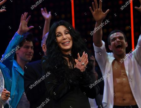 """Cher takes a bow on stage during the curtain call for """"The Cher Show"""" Broadway musical opening night at the Neil Simon Theatre, in New York"""
