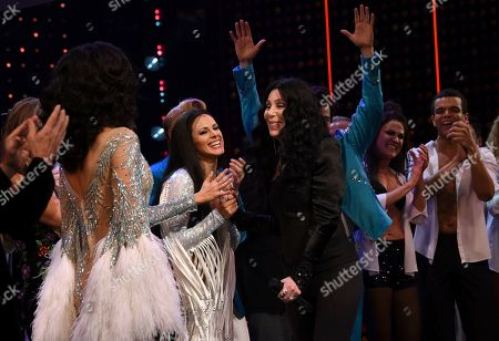 """Teal Wicks, Cher. Cher greets the cast on stage during the curtain for """"The Cher Show"""" Broadway musical opening night at the Neil Simon Theatre, in New York"""