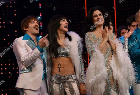 """Jarrod Spector, Micaela Diamond, Stephanie J. Block. Actors Jarrod Spector, left, Micaela Diamond and Stephanie J. Block on stage during the curtain for """"The Cher Show"""" Broadway musical opening night at the Neil Simon Theatre, in New York"""