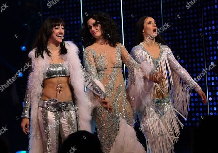 """Micaela Diamond, Stephanie J. Block, Teal Wicks. Actors Micaela Diamond, Stephanie J. Block and Teal Wicks who all play Cher take a bow during the curtain for """"The Cher Show"""" Broadway musical opening night at the Neil Simon Theatre, in New York"""
