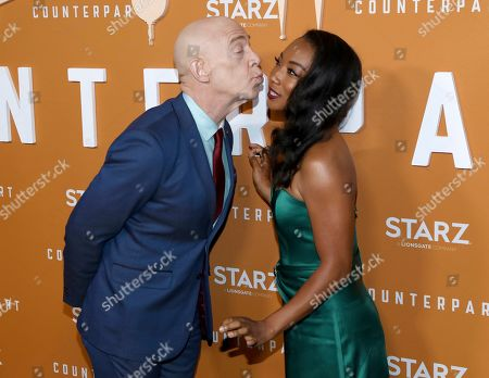 J. K. Simmons, Betty Gabriel. J. K. Simmons, left, and Betty Gabriel attend the STARZ Counterpart Season 2 Premiere at the Arclight Hollywood on in Los Angeles