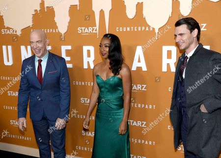 J. K. Simmons, Betty Gabriel, Harry Lloyd. J. K. Simmons, from left, Betty Gabriel and Harry Lloyd attend the STARZ Counterpart Season 2 Premiere at the Arclight Hollywood on in Los Angeles