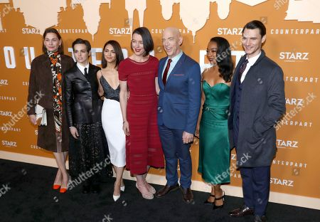 Christiane Paul, Sara Serraiocco, Nazanin Boniadi, Olivia Williams, J. K. Simmons, Betty Gabriel, Harry Lloyd. Christiane Paul, from left, Sara Serraiocco, Nazanin Boniadi, Olivia Williams, J. K. Simmons, Betty Gabriel and Harry Lloyd attend the STARZ Counterpart Season 2 Premiere at the Arclight Hollywood on in Los Angeles