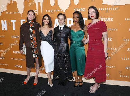 Christiane Paul, Nazanin Boniadi, Sara Serraiocco, Betty Gabriel, Olivia Williams. Christiane Paul, from left, Nazanin Boniadi, Sara Serraiocco, Betty Gabriel and Olivia Williams attend the STARZ Counterpart Season 2 Premiere at the Arclight Hollywood on in Los Angeles