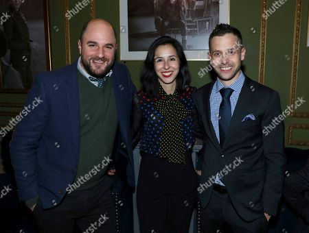 Stock Picture of Erin Levy, Jordan Horowitz, Justin Marks. Jordan Horowitz, from left, Erin Levy and Justin Marks attend the STARZ Counterpart Season 2 Premiere afterparty at Warwick Bar on in Los Angeles