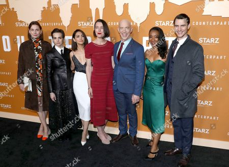 Christiane Paul, Sara Serraiocco, Nazanin Boniadi, Olivia Williams, J. K. Simmons, Betty Gabriel, Harry Lloyd. IMAGE DISTRIBUTED FOR STARZ ENTERTAINMENT LLC - Christiane Paul, from left, Sara Serraiocco, Nazanin Boniadi, Olivia Williams, J. K. Simmons, Betty Gabriel and Harry Lloyd attend the STARZ Counterpart Season 2 Premiere at the Arclight Hollywood on in Los Angeles