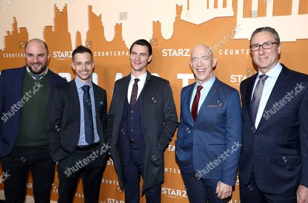 Jordan Horowitz, Justin Marks, Harry Lloyd, J. K. Simmons, Carmi Zlotnik. IMAGE DISTRIBUTED FOR STARZ ENTERTAINMENT LLC - Jordan Horowitz, from left, Justin Marks, Harry Lloyd, J. K. Simmons and Carmi Zlotnik, President of Programming for Starz, attend the STARZ Counterpart Season 2 Premiere at the Arclight Hollywood on in Los Angeles