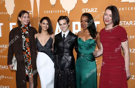 Christiane Paul, Nazanin Boniadi, Sara Serraiocco, Betty Gabriel, Olivia Williams. IMAGE DISTRIBUTED FOR STARZ ENTERTAINMENT LLC - Christiane Paul, from left, Nazanin Boniadi, Sara Serraiocco, Betty Gabriel and Olivia Williams attend the STARZ Counterpart Season 2 Premiere at the Arclight Hollywood on in Los Angeles