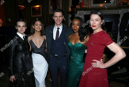 Sara Serraiocco, Nazanin Boniadi, Harry Lloyd, Betty Gabriel, Olivia Williams. IMAGE DISTRIBUTED FOR STARZ ENTERTAINMENT LLC - Sara Serraiocco, from left, Nazanin Boniadi, Harry Lloyd, Betty Gabriel and Olivia Williams attend the STARZ Counterpart Season 2 Premiere afterparty at Warwick Bar on in Los Angeles
