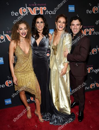 """Micaela Diamond, Stephanie J. Block, Teal Wicks, Jarrod Spector. Actors Micaela Diamond, left, Stephanie J. Block, Teal Wicks and Jarrod Spector pose together at """"The Cher Show"""" Broadway musical opening night after party at Pier Sixty, in New York"""