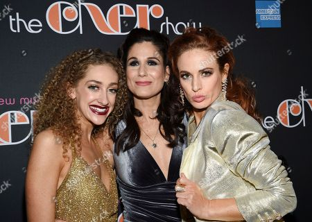 """Micaela Diamond, Stephanie J. Block, Teal Wicks. Actors Micaela Diamond, left, Stephanie J. Block and Teal Wicks pose together at """"The Cher Show"""" Broadway musical opening night after party at Pier Sixty, in New York"""