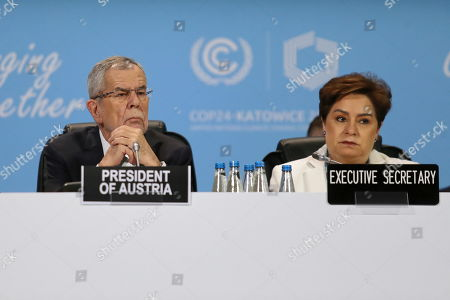 Austrian Federal President Alexander Van der Bellen (L) and Executive Secretary of UN Climate Change Patricia Espinosa (R) during the COP24 summit in Katowice, Poland, 04 December 2018. The COP (Conference of the Parties) summit is the highest body of the UN Framework Convention on Climate Change (UNFCC). Expected at the meeting are close to 30,000 delegates from all over the world, including government leaders and ministers responsible for environmental policy.