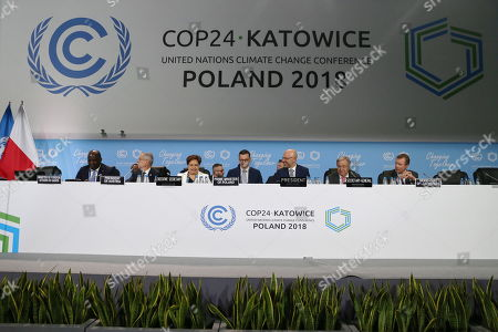 (L-R) Gabon's Foreign Affairs Minister Omar Bongo, Austrian Federal President Alexander Van der Bellen, Executive Secretary of UN Climate Change Patricia Espinosa, Polish Prime Minister Mateusz Morawiecki, Polish Deputy Minister of the Environment and chairman of the COP24 Michal Kurtyka, Secretary General of the United Nations (UN) Antonio Guterres and Grand Duke Henri of Luxembourg during the COP24 summit in Katowice, Poland, 04 December 2018. The COP (Conference of the Parties) summit is the highest body of the UN Framework Convention on Climate Change (UNFCC). Expected at the meeting are close to 30,000 delegates from all over the world, including government leaders and ministers responsible for environmental policy.