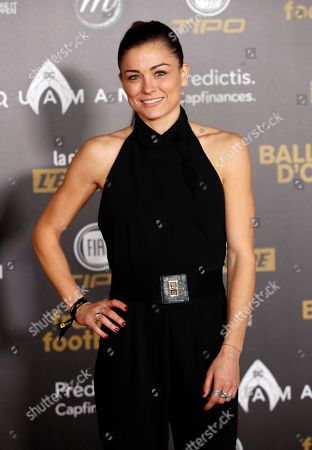 French Soccer player Laure Boulleau attends a photocall before the Golden Ball (Ballon d'Or) award ceremony at the Grand Palais in Paris, Monday Dec.3, 2018
