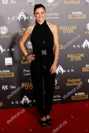 Stock Picture of French Soccer player Laure Boulleau attends a photocall before the Golden Ball (Ballon d'Or) award ceremony at the Grand Palais in Paris, Monday Dec.3, 2018