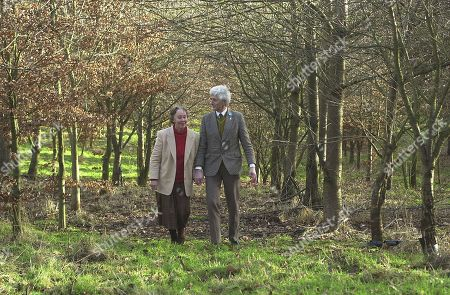 Stock Picture of Dr Jim Swire and his wife Jane  walk in Flora's Wood near their home in Worcestershire.  Jim Swire has devoted practically every walking moment over the last 12 years to his search for the truth about Lockerbie. Flora Swire was killed on Pan Am Flight 103.  Lockerbie bombing