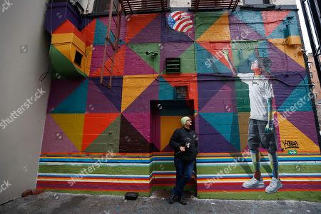 Mural dream American of the Brazilian artist Eduardo Kobra is seen in Manhattan
