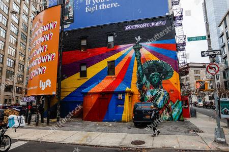Mural of the Brazilian artist Eduardo Kobra is seen in Manhattan