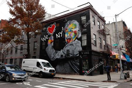 Mural of We Love New York with Albert Einstein's portrait is seen in Manhattan, New York. Artwork by Brazilian muralist Eduardo Kobra.