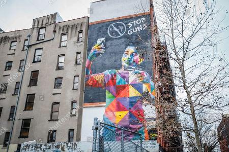 Mural Stop Guns of the Brazilian artist Eduardo Kobra is seen in Manhattan