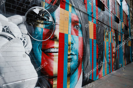 Stock Photo of Mural club 27 (Amy Winehouse, Jimi Hendrix, Kurt Cobain, Janis Joplin and Jim Morrison ) of the Brazilian artist Eduardo Kobra is seen in Manhattan