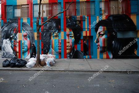 Mural club 27 (Amy Winehouse, Jimi Hendrix, Kurt Cobain, Janis Joplin and Jim Morrison ) of the Brazilian artist Eduardo Kobra is seen in Manhattan