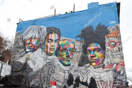 Mural Andy Warhol, Frida Kahlo, Keith Haring and Jean Michel Bastiquiat of the Brazilian artist Eduardo Kobra is seen in Manhattan