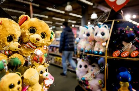 Stock Picture of Cuddly toys (Teeny Tys) are displayed for sale at Toy Store Intertoys in Utrecht, the Netherlands, 04 December 2018. Customers are buying their last items prior to Sinterklaas (Saint Nicholas).