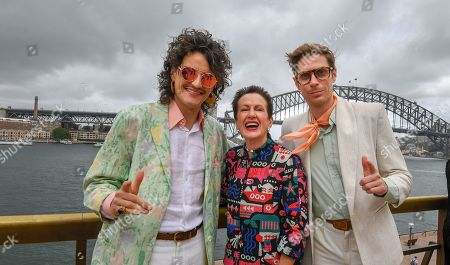 Australian indie pop duo Client Liaison's Monte Morgan (L) and Harvey Miller (R) pose for a photograph with Lord Mayor of Sydney Clover Moore (C) at the launch of the City of Sydney's New Year's Eve celebrations at the Sydney Opera House in Sydney, New South Wales, Australia, 04 December 2018.