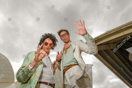 Australian indie pop duo Client Liaison's Monte Morgan (L) and Harvey Miller (R) pose for a photograph at the launch of the City of Sydney's New Year's Eve celebrations at the Sydney Opera House in Sydney, New South Wales, Australia, 04 December 2018.
