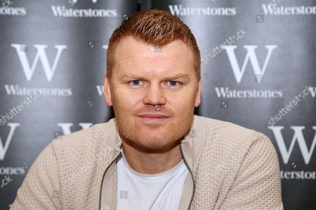 Former Liverpool footballer John Arne Riise signs copies of his autobiography, 'Running Man' at Waterstones Leadenhall Market.