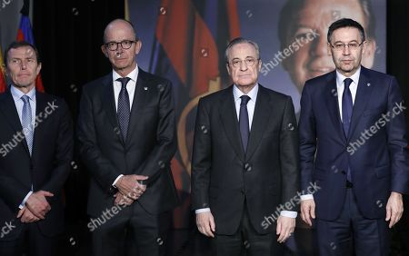 Stock Image of (L-R) Real Madrid's Institutional Relations Director Emilio Butragueno, FC Barcelona's vicepresident Jordi Cardoner (2-L), Real Madrid's President Florentino Perez and FC Barcelona's President, Josep Maria Bartomeu, attend a memorial service for late former FC Barcelona's President Josep Lluis Nunez at the Camp Nou stadium in Barcelona, Catalonia, north eastern Spain, 04 December 2018. Nunez, who was the President of the club from 1978 until 2000 passed away on 03 December in Barcelona.